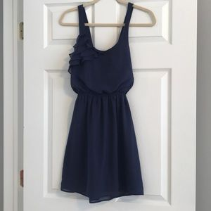 Navy Blue Ruffle Sun Dress with Criss-Cross Back
